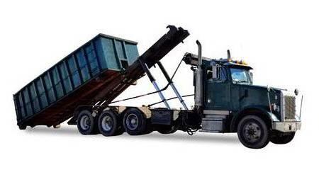 Roll off dumpster rental truck unloading