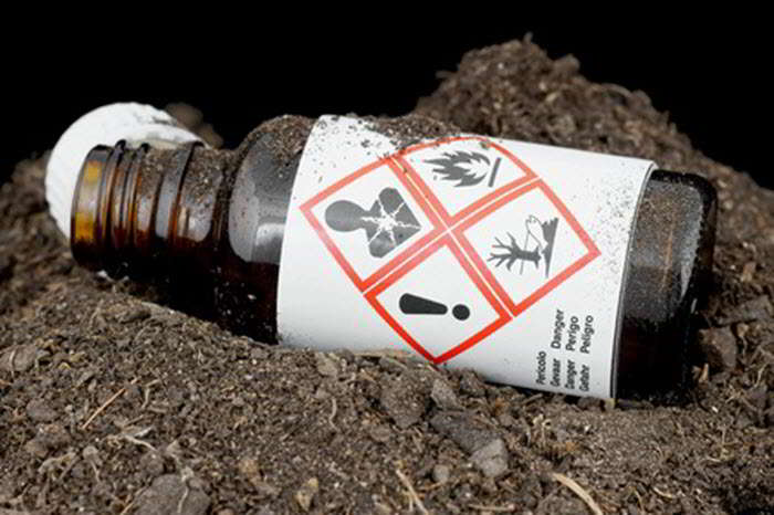 Bottle with hazardous waste thrown on the ground