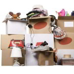 cardboard boxes with household trash