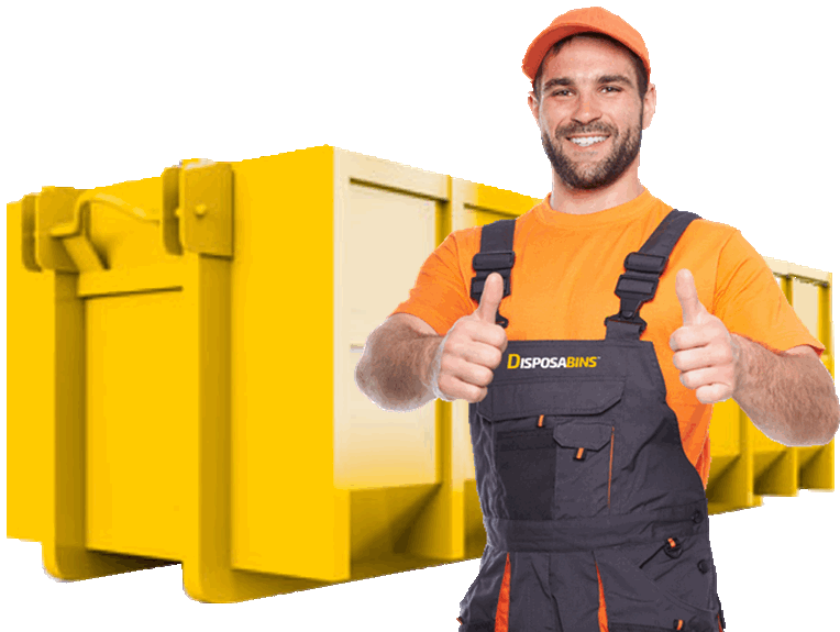 yellow dumpster background with worker